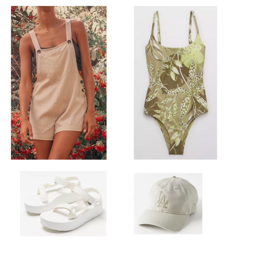 Outfit 4: green one piece swimsuit, white linen overalls, white LA dodgers hat, platform white sandals