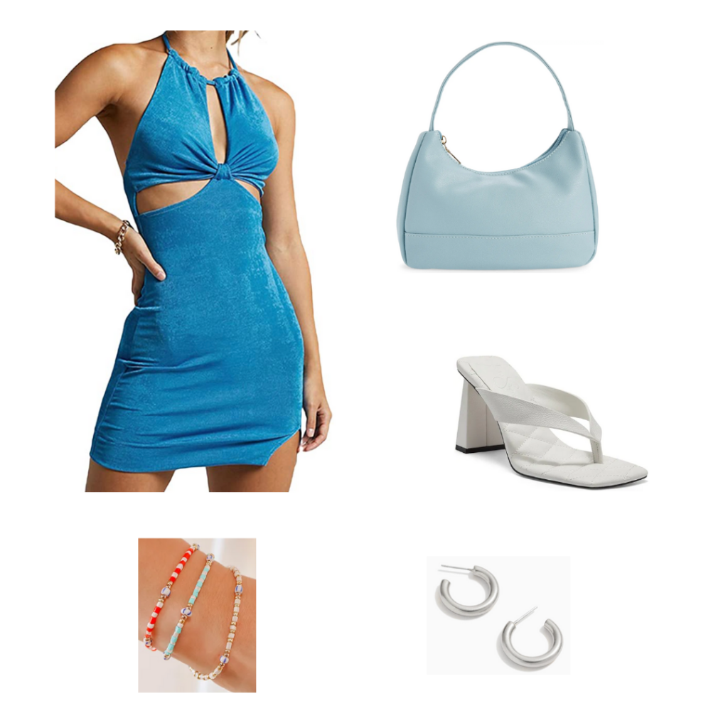 Azure and baby blue outfit set - blue halterneck dress with cutouts, baby blue purse, chunky heeled white sandals, silver hoops