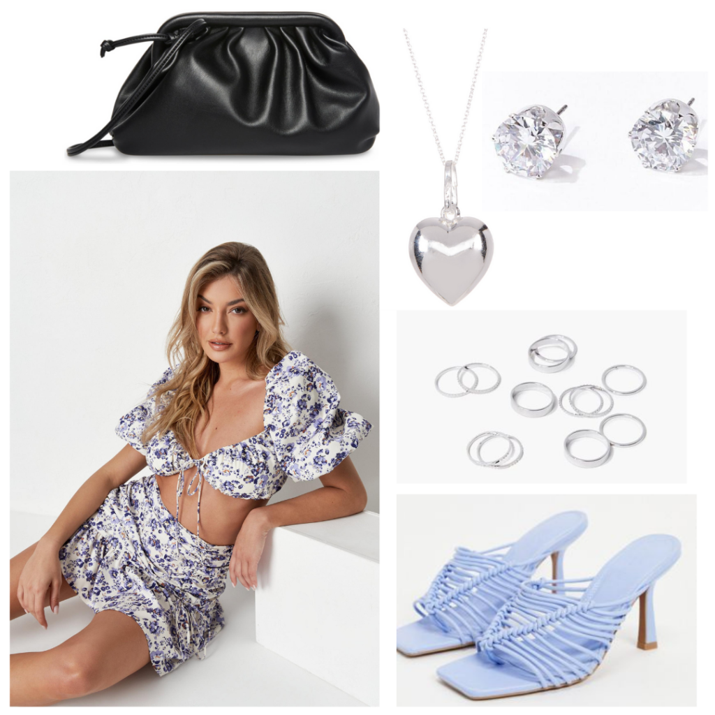 Summer night outfit idea with floral two-piece crop top and skirt set, blue woven heels, silver jewelry