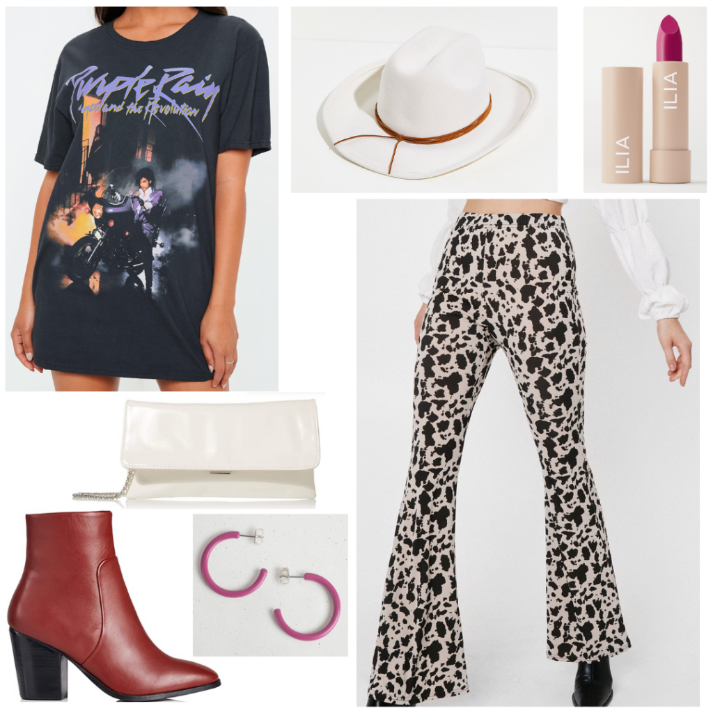 Nashville outfit idea: Cow print flare pants, oversized band tee, white cowboy hat, red lipstick, white patent leather envelope clutch, pink hoop earrings, maroon leather boots