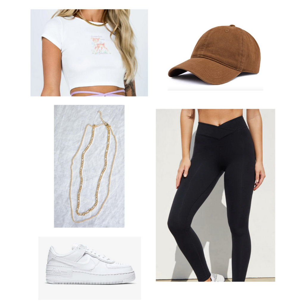 Crop top outfit #1: Black leggings, Nike Air Force 1s, gold necklaces, white crop top, brown dad hat