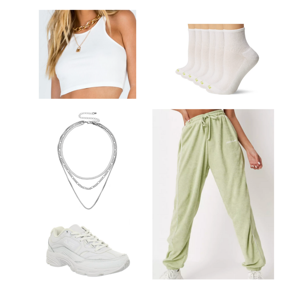 Crop top outfit #2: White cropped tank, green sweatpants, white sneakers, silver necklaces, white ankle socks