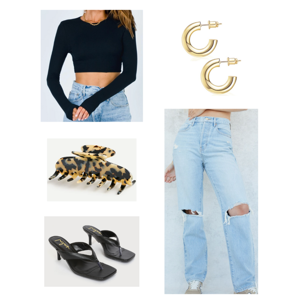 Crop top outfit #3: Wide leg jeans, long sleeve crop top, square toe sandals, claw clip, mini hoops