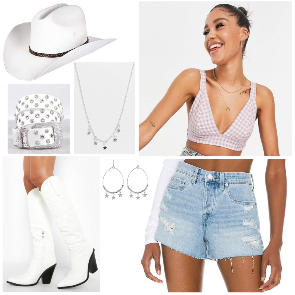 Outfit idea for Nashville: Denim shorts, pink gingham crop top, white cowboy boots, white studded belt, white cowboy hat, silver star necklace and earrings