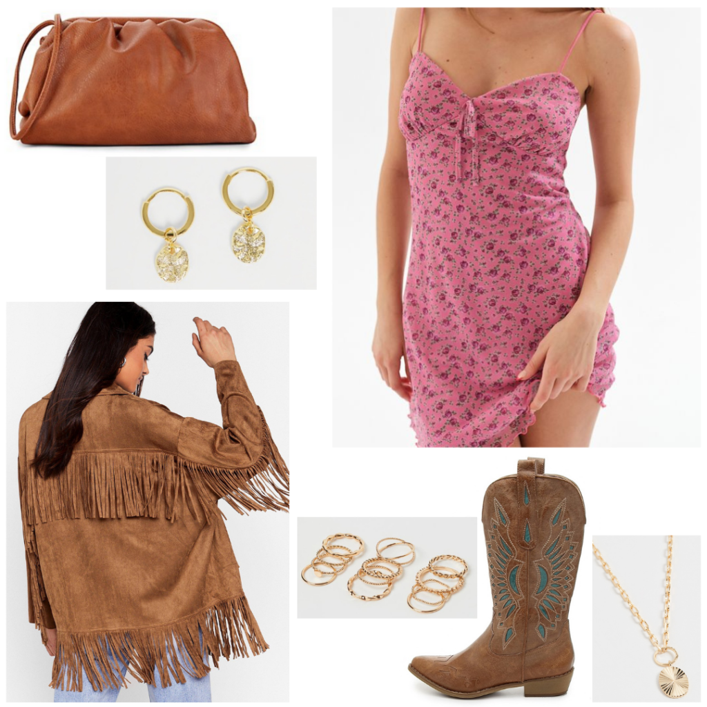 Nashville outfit for daytime: Suede fringe jacket, pink floral print mini dress, brown croissant pouch clutch, brown cowboy boots, gold jewelry