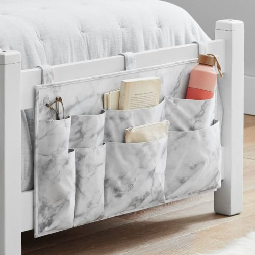 Dorm room storage - Hanging dorm bed grey and white marble canvas storage organizer with pockets.