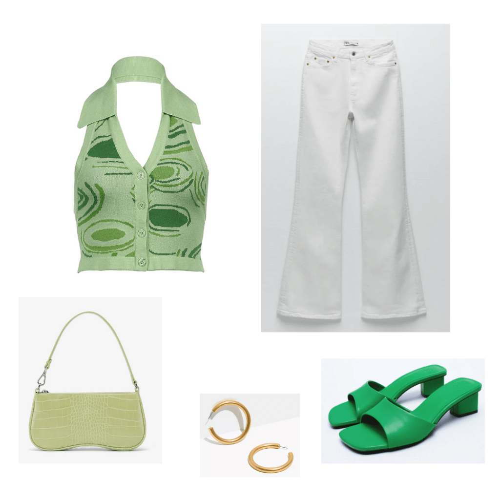 Summer 2021 Color Trends: mixed greens outfit set - vintage inspired green halterneck with collar, white flare jeans, chunky heeled green sandals, green crocodile handbag, gold hoop earrings