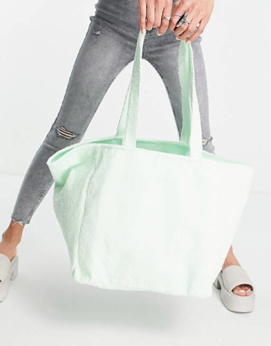 Mint Green Terrycloth Tote Bag