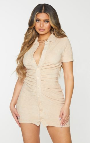 Ruched Button Front Bodycon Dress
