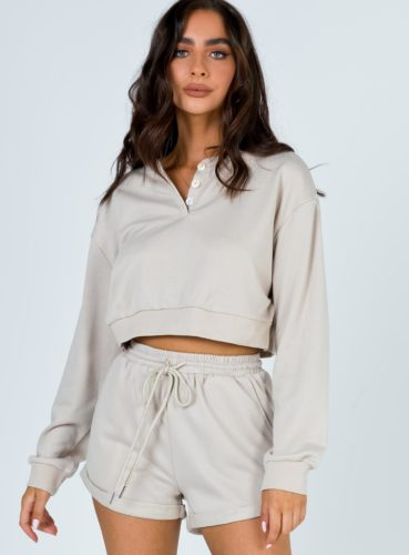 Cropped Henley Sweatshirt and Shorts
