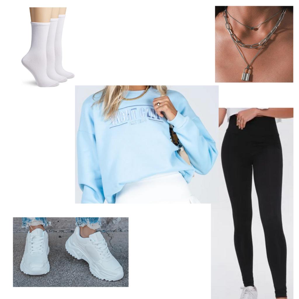 Leggings outfit #1: Basic black leggings, light blue sweatshirt, chunky dad sneakers, chain necklaces, socks