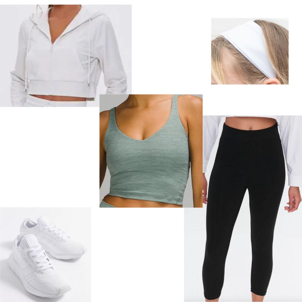 Leggings outfit #2: Cropped black leggings, white sneakers, green crop top, white zip hoodie, white stretchy headband