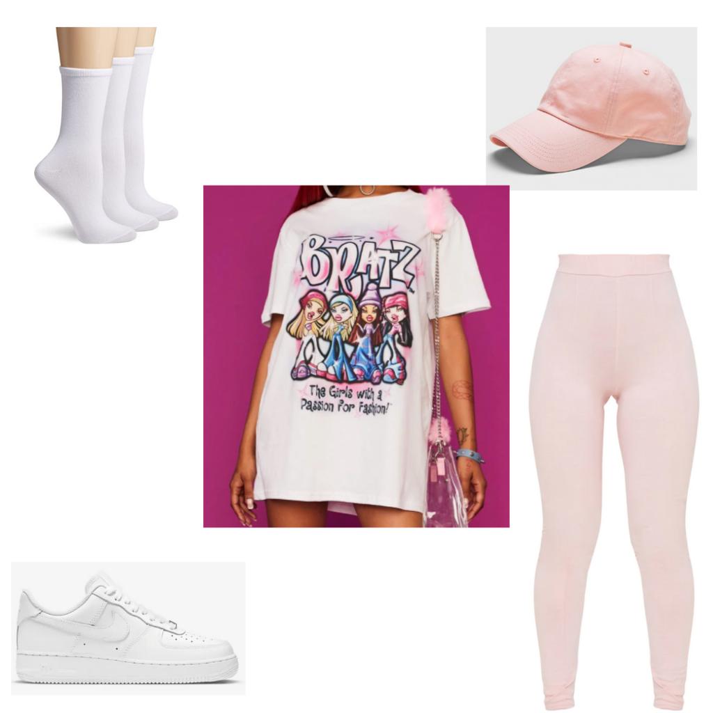 Leggings outfit #3: Pink leggings, oversized tee shirt, pink dad hat, socks, Air Force 1s