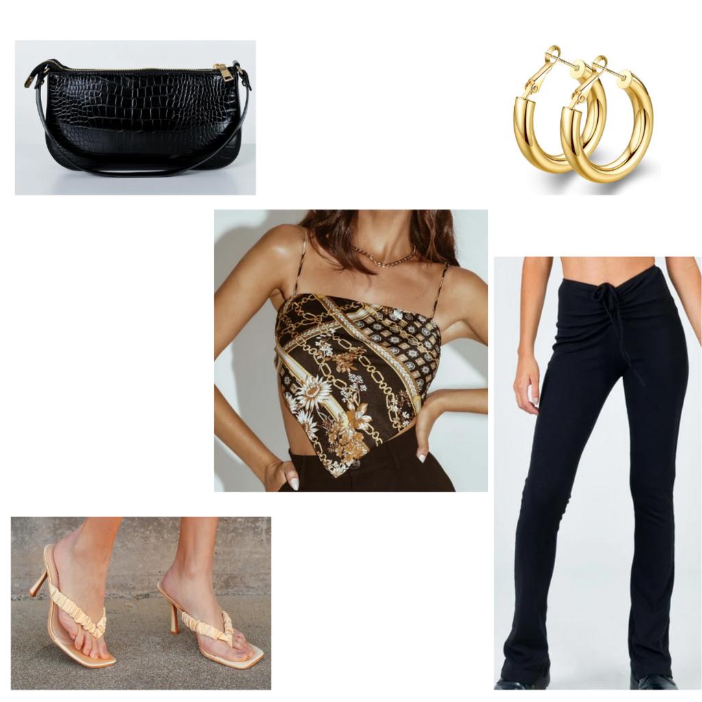 Leggings outfit #4: How to wear flared leggings -- night outfit with kitten heels, bandana top, black flared leggings, mini purse, huggie hoops