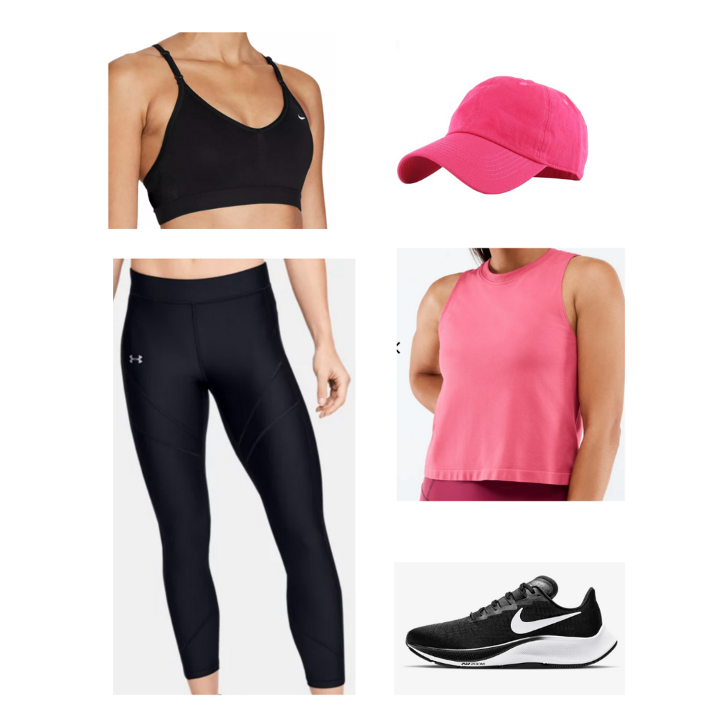 College move-in day outfit #1: Black leggings, black sports bra, pink tank top, pink baseball cap, black and white nike sneakers