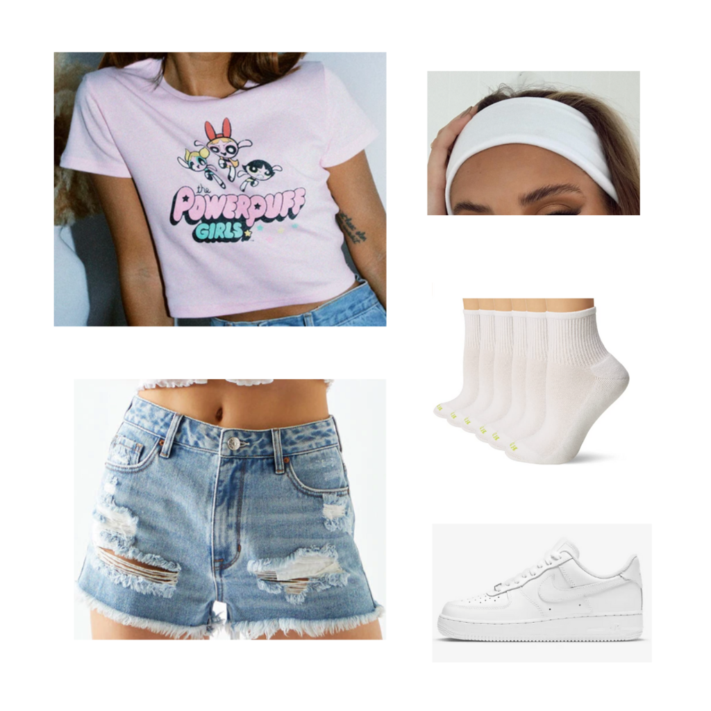 College move-in day outfit #2: Ripped denim shorts, pink graphic crop top, white headband, white ankle socks, white Nike Air Force 1s sneakers