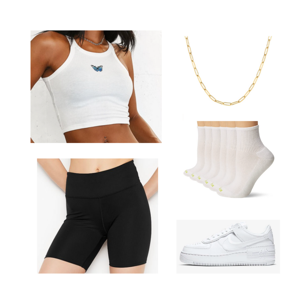 College Move-in outfit #3: Black biker shorts, white butterfly crop top, white Nike sneakers, white socks, gold necklace