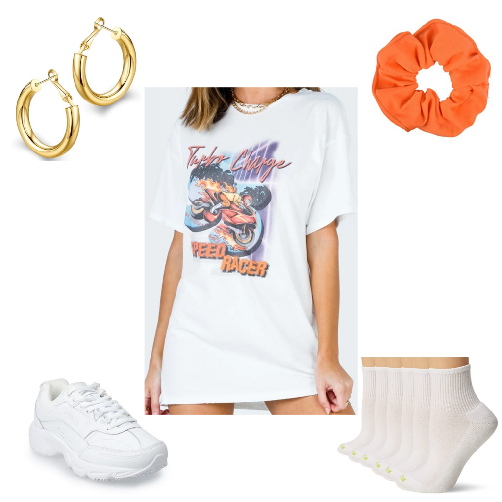 College move-in day outfit #4: Oversized t-shirt dress, dad sneakers, orange scrunchie, socks, mini hoops