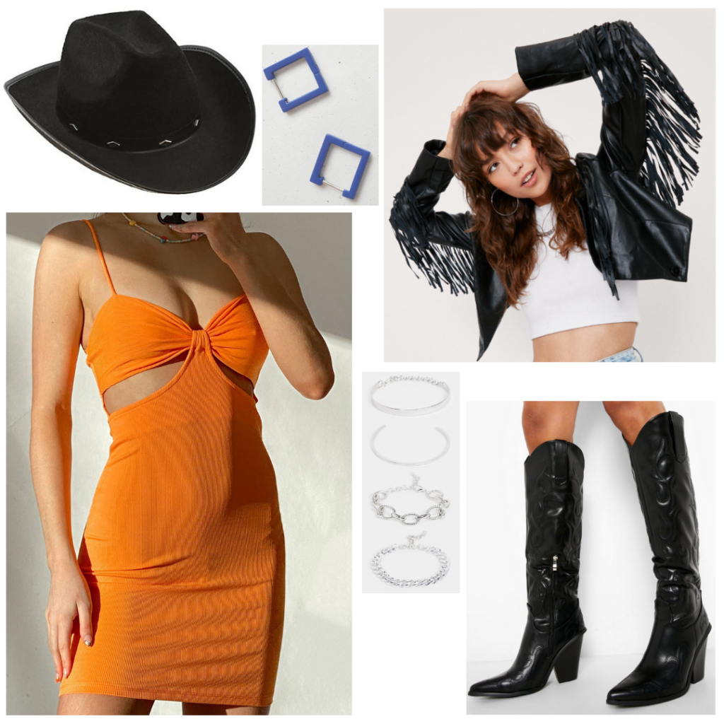 What to wear in Nashville: Outfit idea with orange cutout mini dress, black fringe leather jacket, black cowboy boots, black cowboy hat, blue square earrings, and stacked bracelets