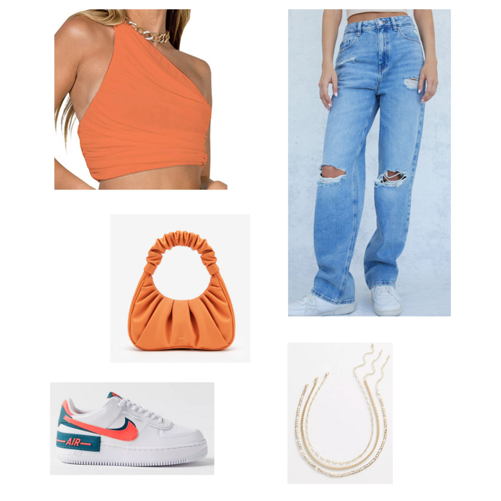 Summer 2021 Color Trend: Tangerine outfit set - orange one shoulder crop top, high-waisted distressed boyfriend jeans, orange and blue nike air force 1s, orange puffy handbag, layered gold necklaces