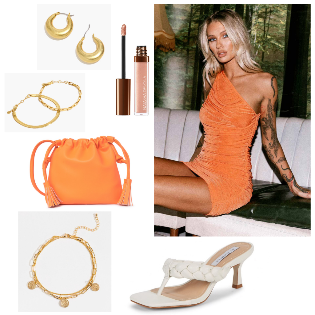 Orange outfit for a summer night: Orange mini dress and purse, white woven heels, gold jewelry, nude lip gloss