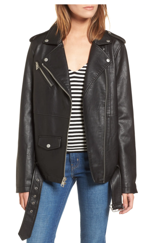 College wardrobe essentials - oversized leather jacket from Levis at Nordstrom