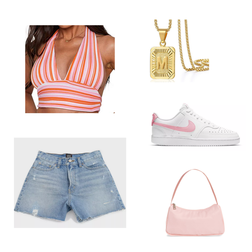 Summer 2021 Color Trends: flamingo pink outfit set - orange and pink striped halter bikini top, distressed denim shorts, white and pink nike sneakers, pink purse