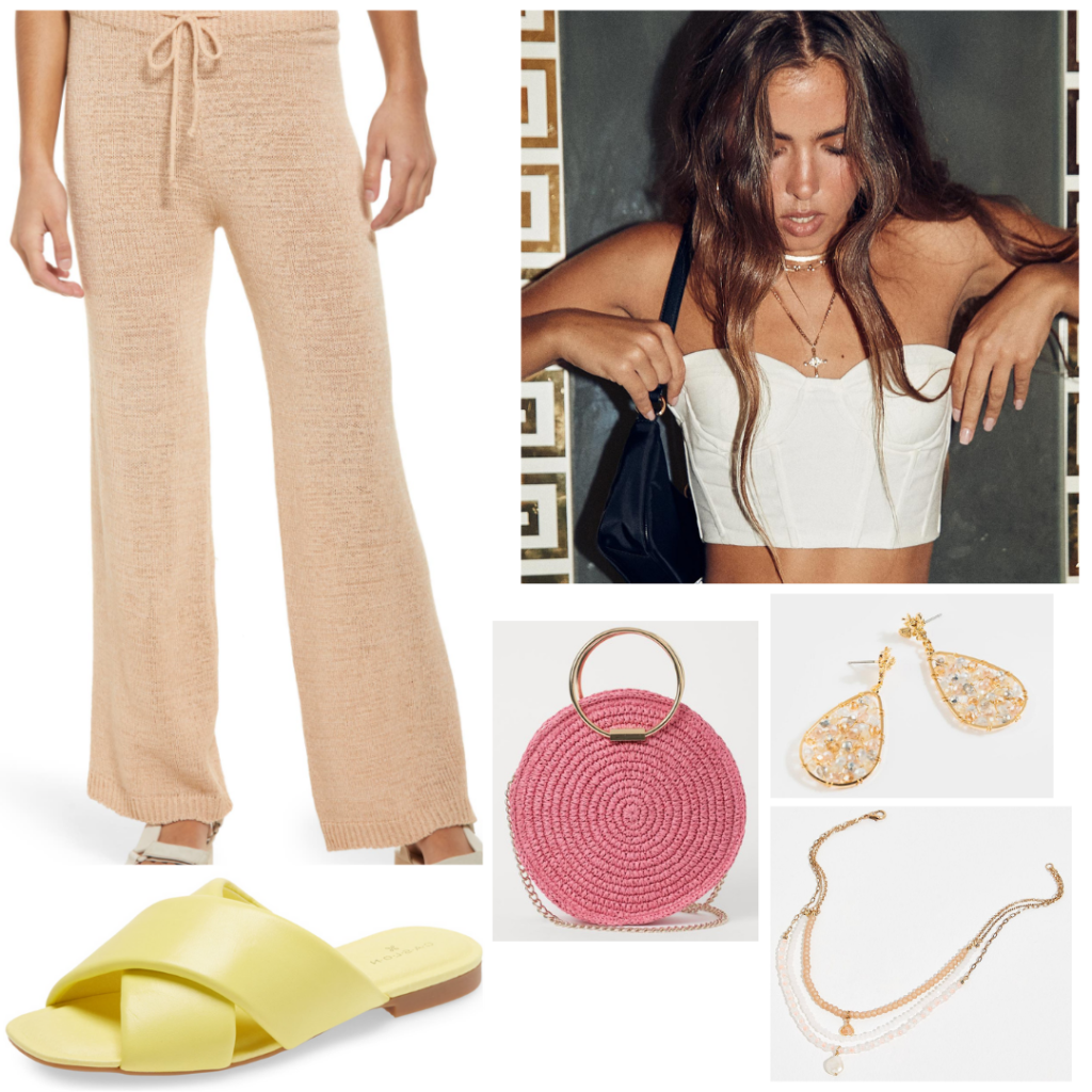 How to wear wide leg pants for a summer night out: Cute outfit with beige wide leg woven pants, white strapless bustier top, green slides, pink woven bag, gold jewelry