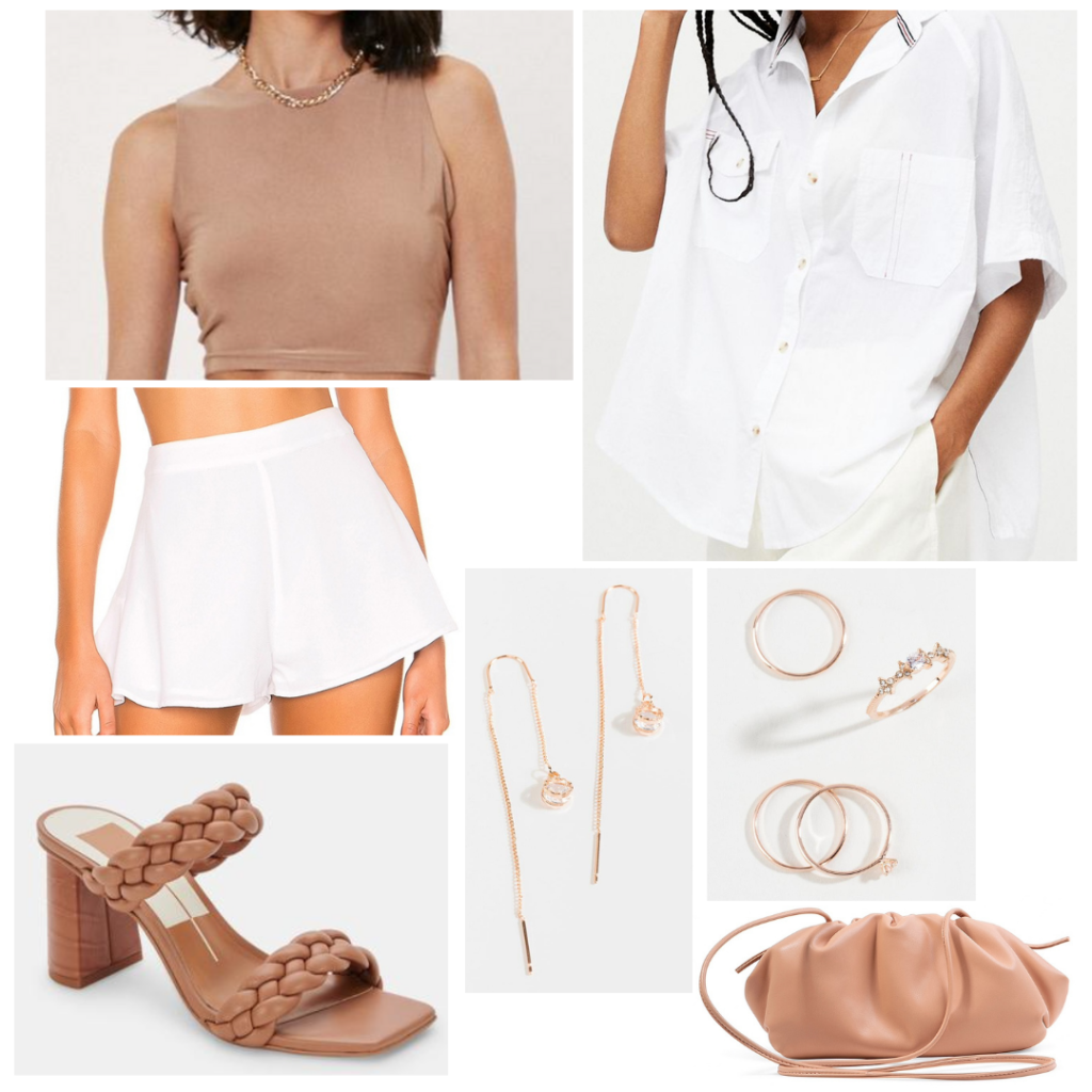 Summer night outfit: Tan monochrome look with white shorts, white button-down shirt, beige crop top, gold jewelry, beige croissant bag