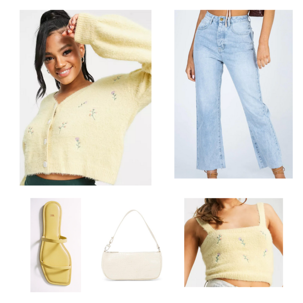 Canary yellow outfit set - pastel yellow fuzzy cardigan, cropped ligh wash jeans, hellow flat sandals, white shoulder bag
