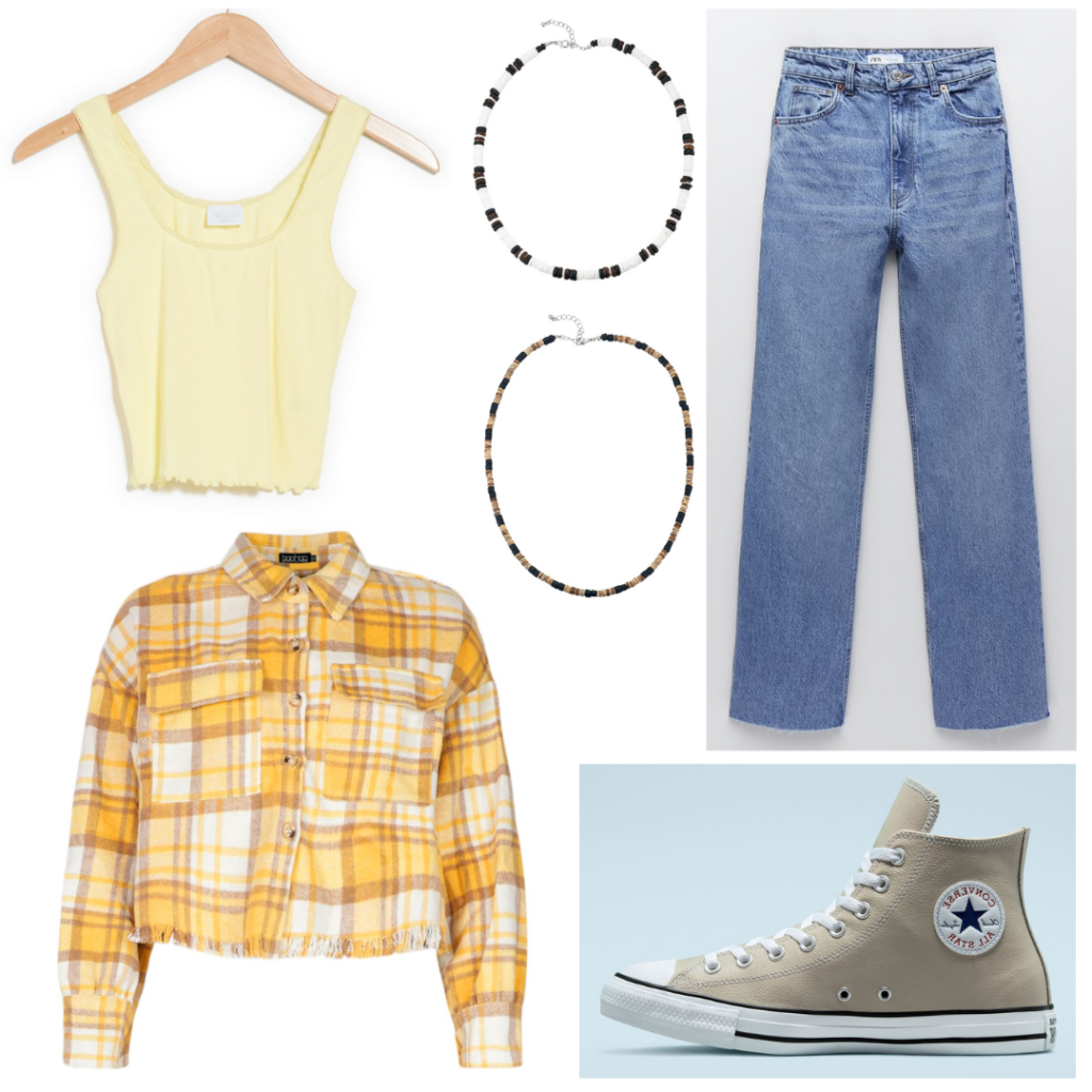 Outfit inspired by Kiara's fall style on Outer Banks season 2: Plaid jacket, yellow tank top, shell necklaces, wide leg jeans, beige converse