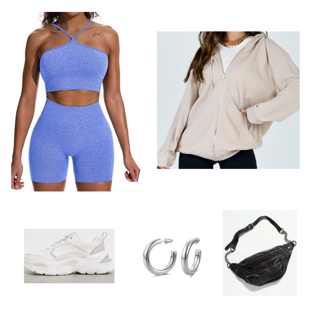 Outfit 2 - Inspired by Los Angeles: heather blue workout set with bike shorts, oversized tan zip up jacket, black fanny pack, chunky white sneakers