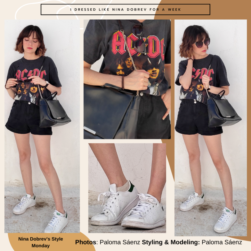 Nina Dobrev style - outfit inspired by Nina Dobrev with black high waisted shorts, graphic band tee, white sneakers, sunglasses, black handbag