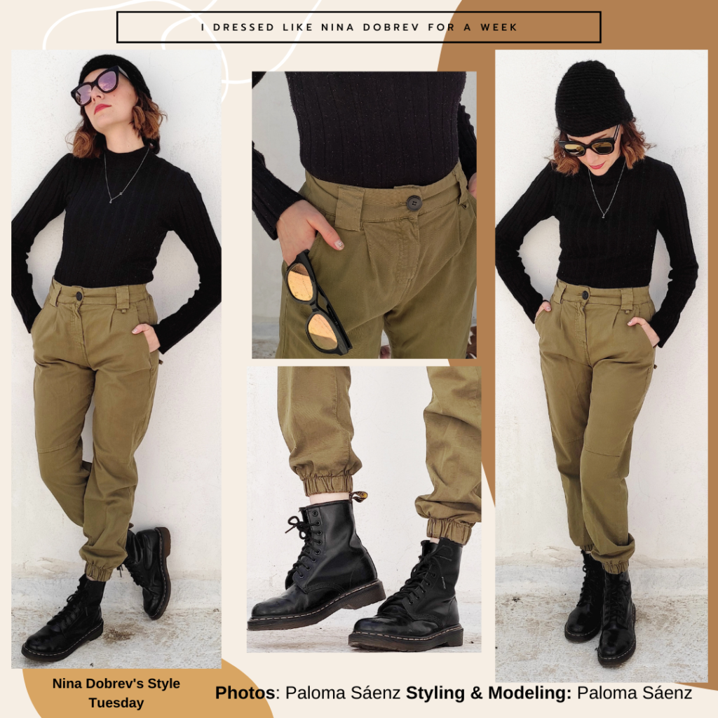 Outfit inspired by Nina Dobrev with green army pants, black turtleneck, black combat boots, black sunglasses and beanie