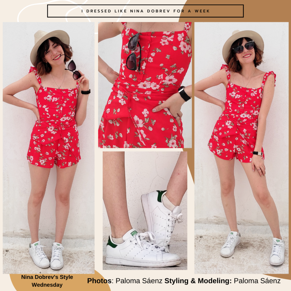 Romper outfit inspired by Nina Dobrev's style with red romper, white sneakers, black watch, boater hat, sunglasses