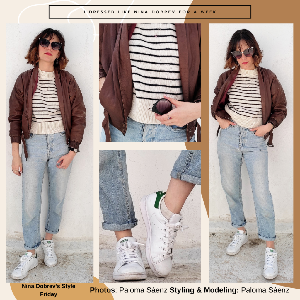 Outfit inspired by Nina Dobrev's style -- striped sweater, brown bomber jacket, mom jeans, white Adidas sneakers