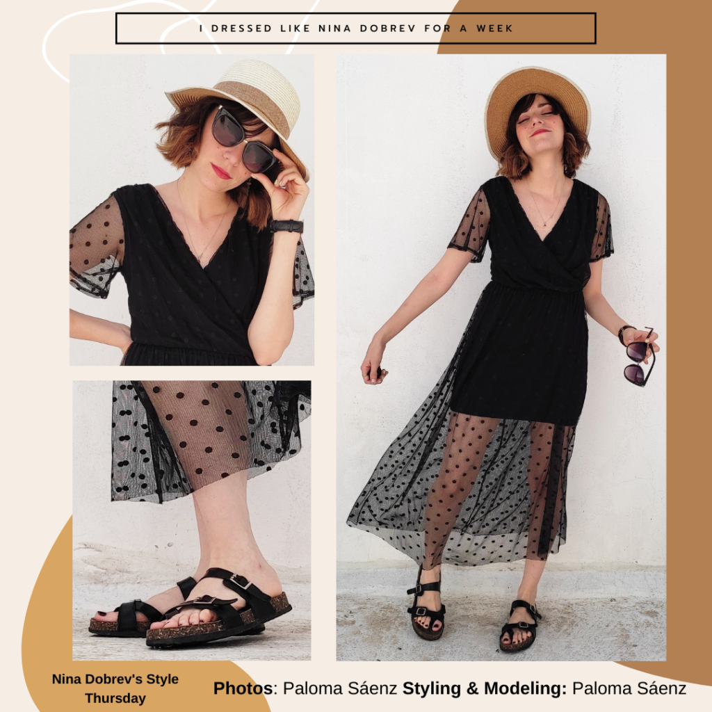 Outfit inspired by Nina Dobrev -- black polka dot dress, boater hat, sunglasses, footbed sandals