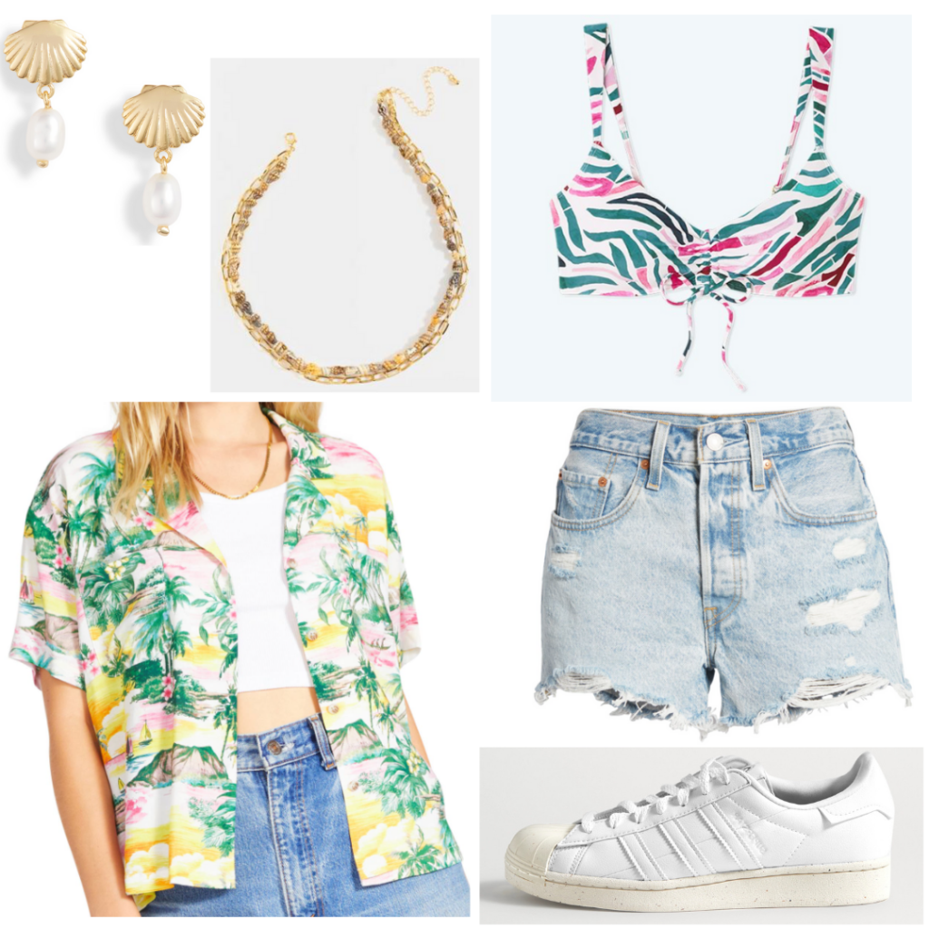 Outfit inspired by Sarah Cameron's style from Season 2 of Outer Banks: Green and yellow and pink button-down camp shirt, ripped jean shorts, white adidas sneakers, gold necklace and earrings, pink and green bikini