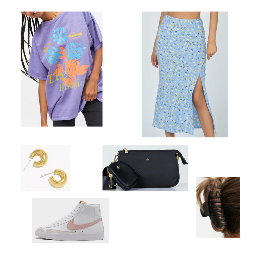 Outfit 8 - Inspired by Atlanta: oversize purple graphic tee. print daisy blue and white midi skirt with slit, high top white sneakers, hair clip