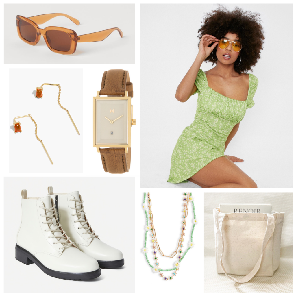 First week of college outfits: Green puff sleeve dress, white boots, gold jewelry, tote bag, rectangle sunglasses