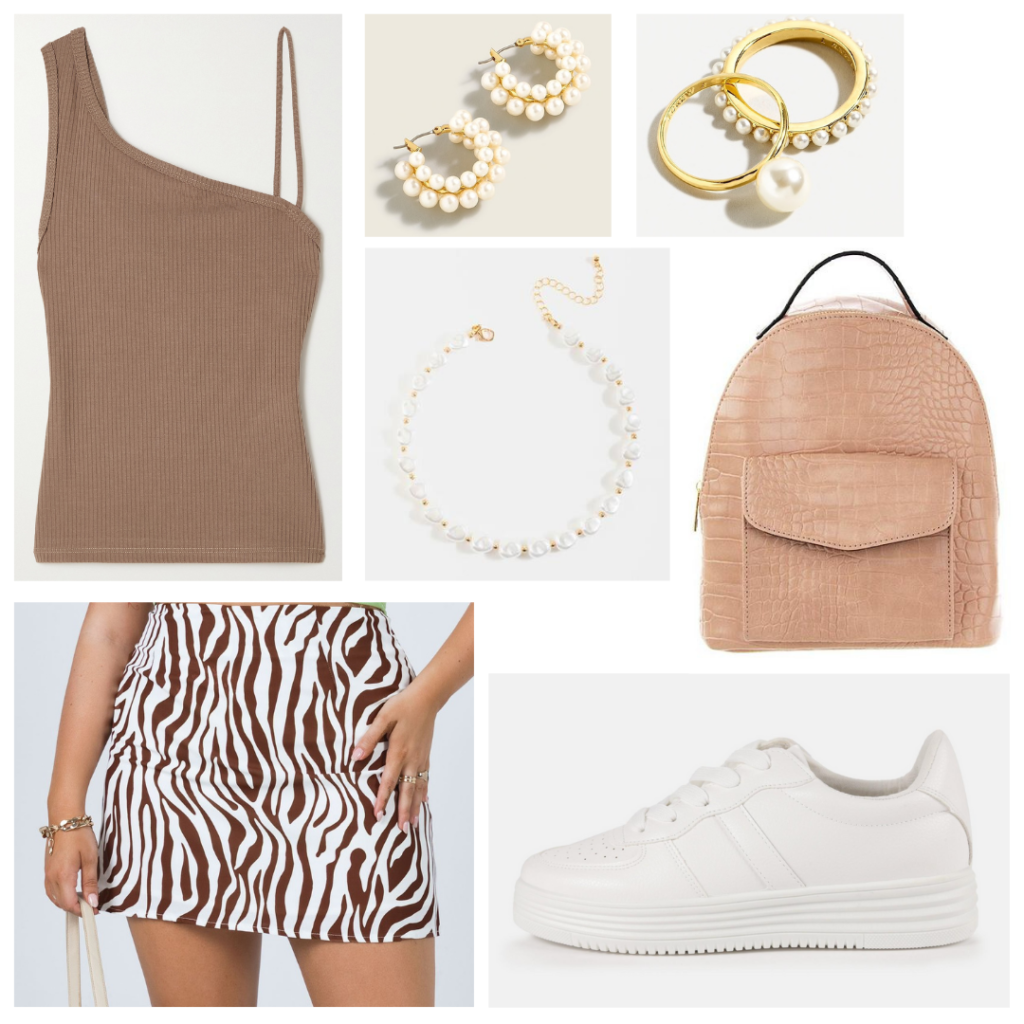 First week of college outfits for 2021: Brown zebra mini skirt, one-shoulder tank in brown, white platform sneakers, pearl jewelry, snakeskin backpack