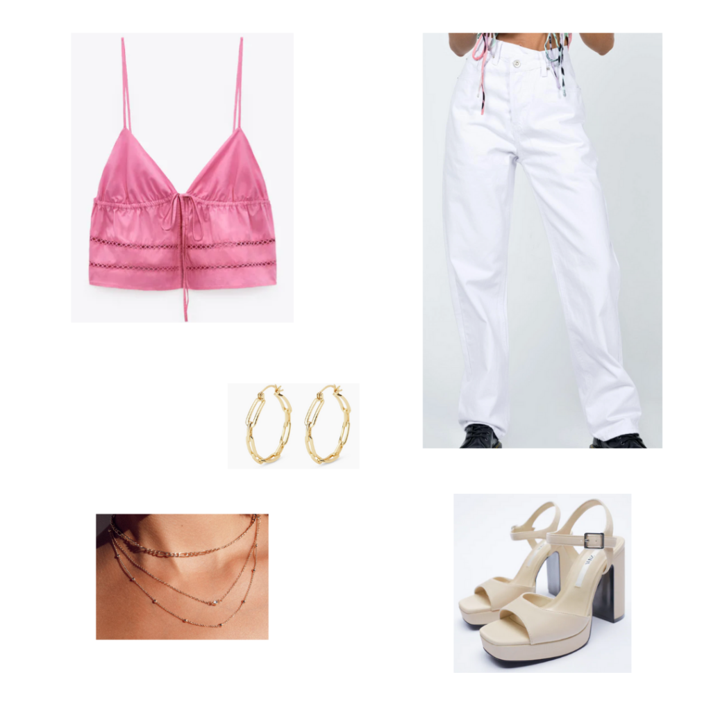 City Girl Outfits 5 - Inspired by Boston: pink crop bra top, oversized white high waisted jeans. gold chain hoop earrings, beige platform sandals, layered necklace