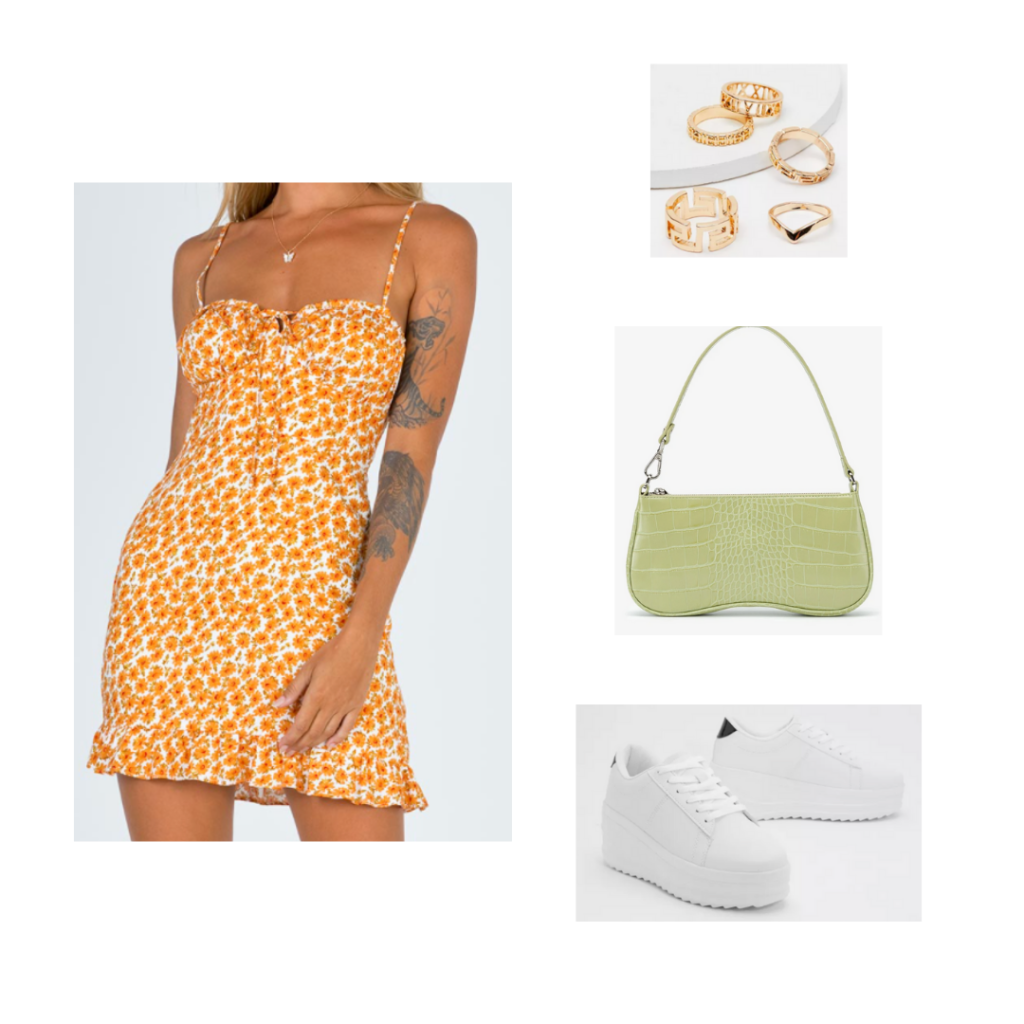 Outfit 10 - Inspired by Charleston: orange and white sweetheart dress, green crocodile bag, gold jewelry, white platform shoes