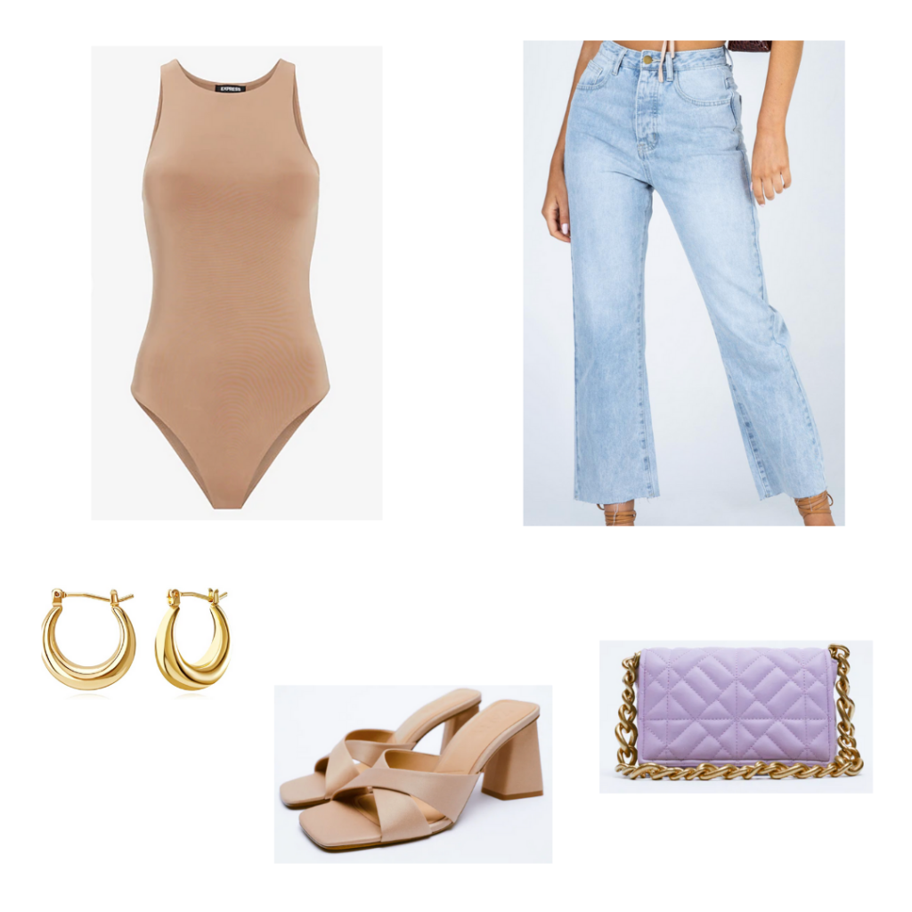 City Girl Outfit 1 - Inspired by Chicago: tan bodysuit, light wash denim jeans, nude chunky heeled square toe sandals, lavender bag with chain strap, gold chunky hoop earrings