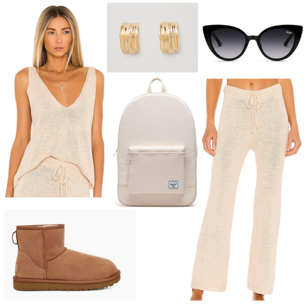 Cozy college outfit for Friday: Knit matching set, Uggs, beige backpack, sunglasses, gold jewelry
