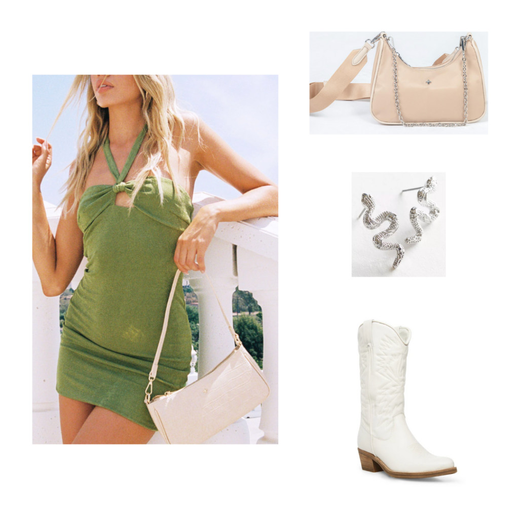 Outfit 4 - Inspired by Dallas: Green halterneck mini dress, white cowboy boots, beige shoulder bag. silver snake earrings