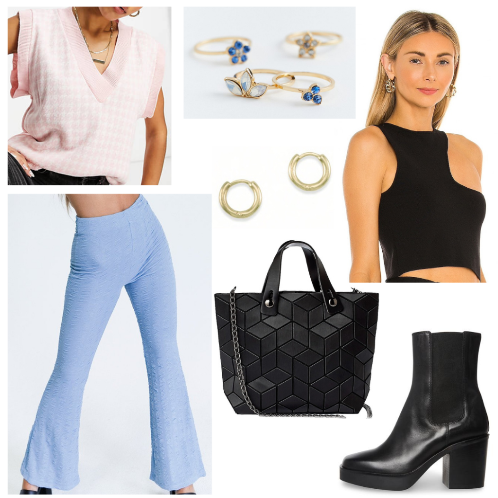 First week of college outfit for Thursday night: Flare pants, one-shoulder top, pink sweater vest, black tote bag, gold jewelry, black ankle boots