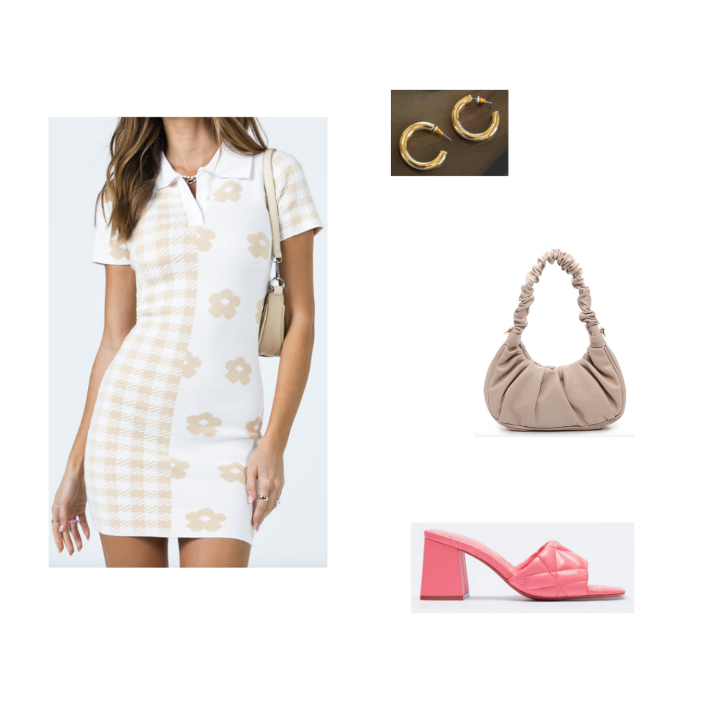 Outfit 6 - Inspired by Washington DC: white and beige print dress with collar, chunky ruffled mini bag, pink platform chunky heels