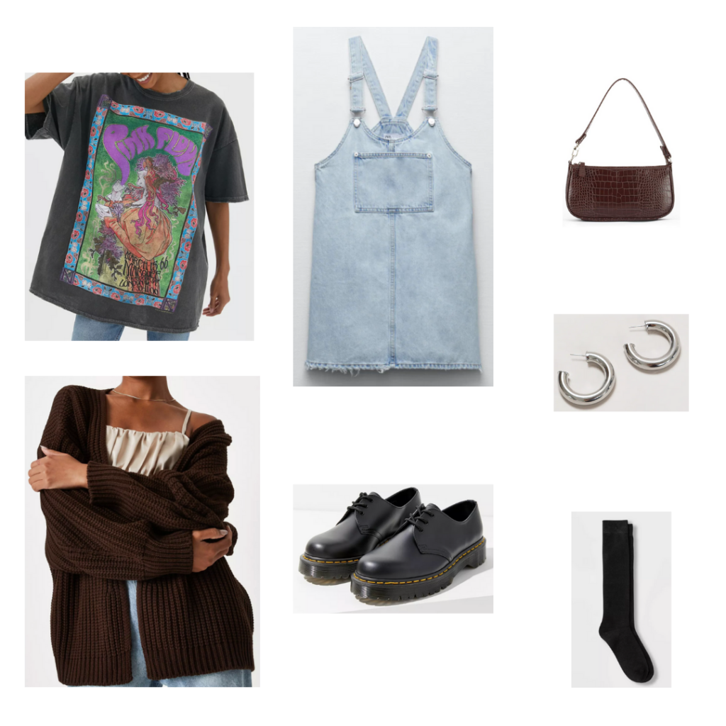 90s fall trend outfit: Oversized tee shirt, cozy cardigan, overall dress, mini purse, small hoop earrings, chunky loafers, socks