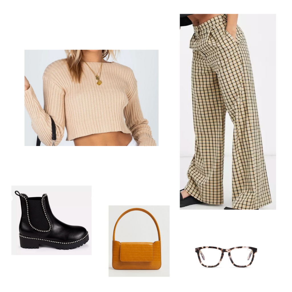Printed pants outfit for fall with plaid wide leg pants, cropped beige sweater, chunky boots, brown mini bag, blue light glasses